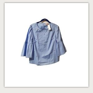 NWT Philosophy preppy pearl blue blouse